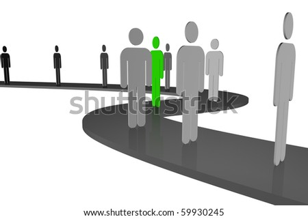 "stylized drawing of people who stood in line, along the winding way of life and among them there are ""other"" - stock photo"
