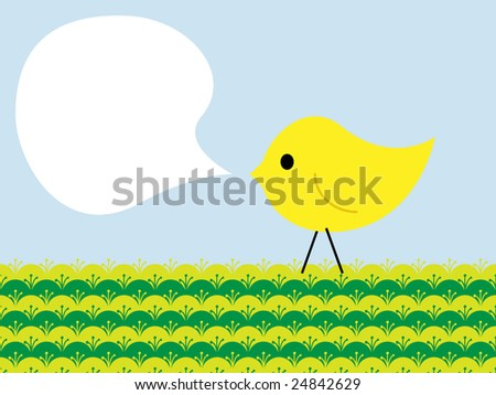 Stylized easter chicken with place for text - stock photo