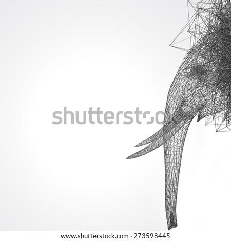 stylized elephant wire low poly  - stock photo