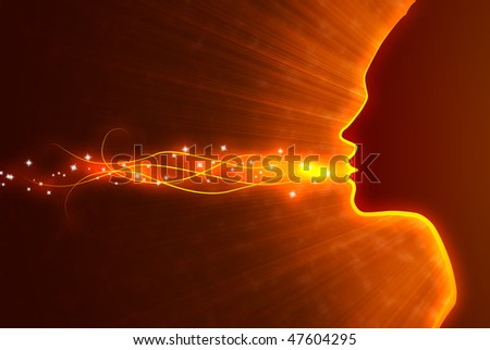 stylized face of a girl in a burning background