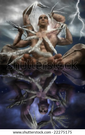 Stylized fantastical portrait of Shiva figure in yoga pose with six arms dancing around him - stock photo