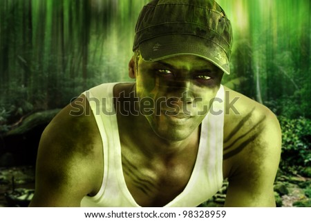 Stylized fantasy portrait of a cool army hero guy with face paint and camo hat in dark mysterious jungle war setting - stock photo