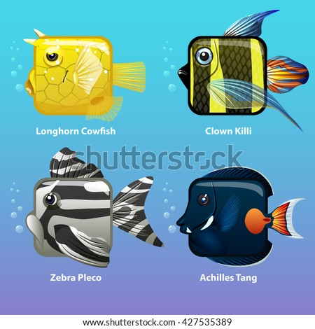 stylized fish are square clown killi longhorn cowfish zebra pleco achiles tang