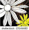 Stylized floral grunge  pattern with daisy silhouettes on black background - stock photo