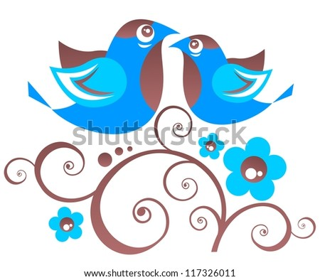 Stylized floral pattern and two birds  on a white background.