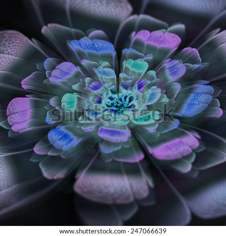 Stylized flower. Computer generated pattern. Useful as background or design element for images devoted to subjects of nature, beauty, cosmetics, etc. - stock photo