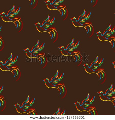 Stylized flying bird pattern, seamless composition design. Raster version. - stock photo