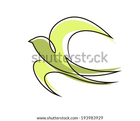 Stylized flying bird with outspread wings and tail in a flowing outline coloured green symbolic of peace and freedom. Vector version also available in gallery - stock photo