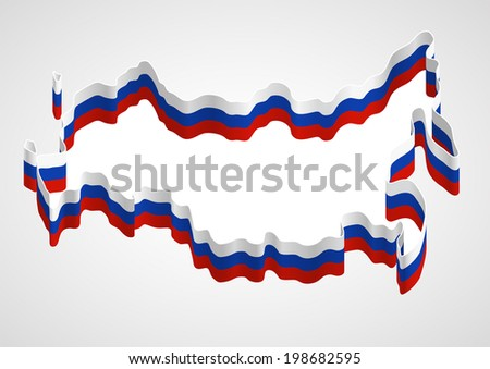 Stylized generalized designation of Russia borders using a ribbon with tricolor of Russian flag. Raster version of vector file - stock photo