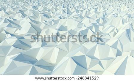 stylized geometric landscape made of polygonal digital surface - stock photo