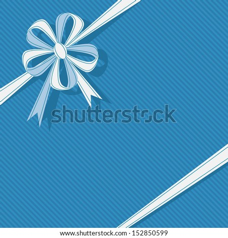 Stylized gift box with ribbon and bow in form of flower. Blue festive simple background for invitation, greeting card. Abstract holiday decorative cute illustration with text box for print, web  - stock photo