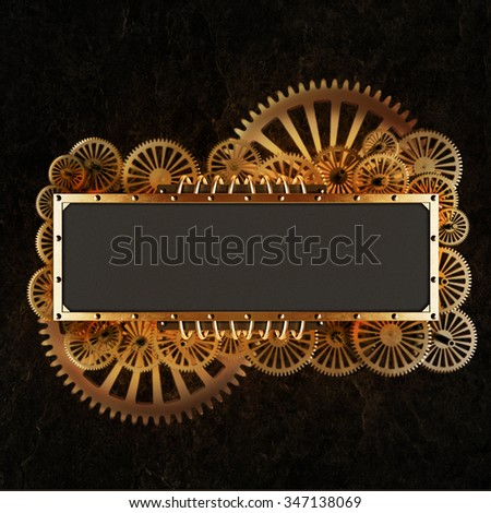 Stylized gold mechanical gears steampunk collage. Made of metal frame and clockwork details. - stock photo