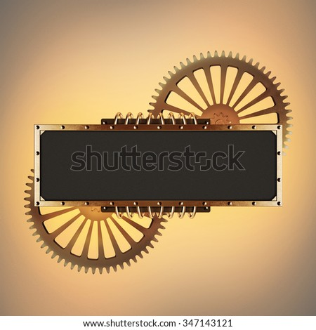 Stylized golden gearsmechanical steampunk collage. Made of metal frame and clockwork details. - stock photo