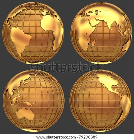 Stylized golden globe of the Earth with a grid of meridians and parallels - stock photo