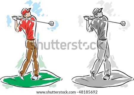 Stylized Golfer Dude - stock photo