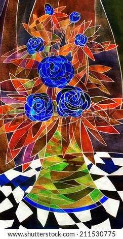Stylized gouache floral still life. Elegant lush corsage of dark blue roses with coral and orange leaves in a vivid green vase on a tablecloth with contrasting black and white geometric pattern