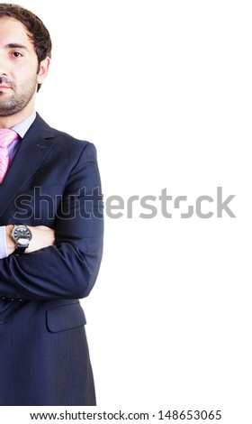 Stylized half portrait of businessman isolated on white - stock photo