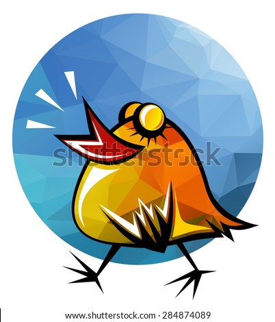Stylized happy chicken isolated on a white background. - stock photo