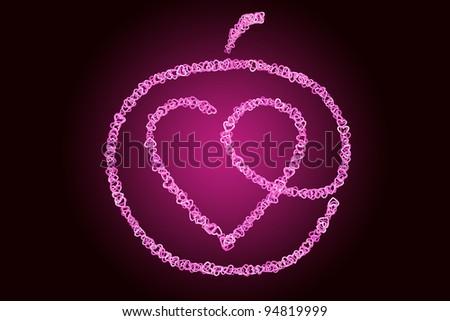 Stylized heart inside of an apple. - stock photo