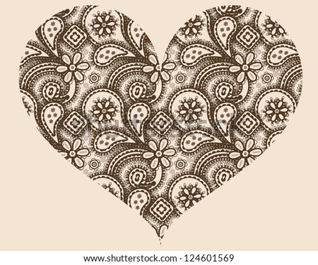 Stylized heart with abstract ornament of paisleys, raster illustration.See vector version in my portfolio. - stock photo