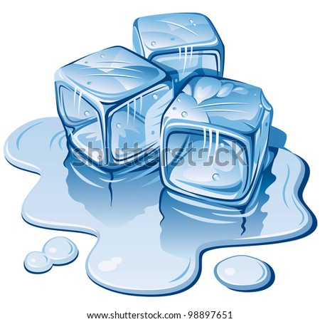 Stylized Ice Cubes on White Background. Rasterized Version