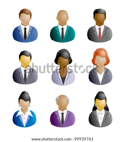 Stylized icons of people of different nations, isolated on white background. People (set 1 of 5) - Business - stock photo