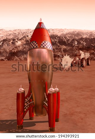 Stylized illustration of a retro rocket on the surface of Mars - stock photo