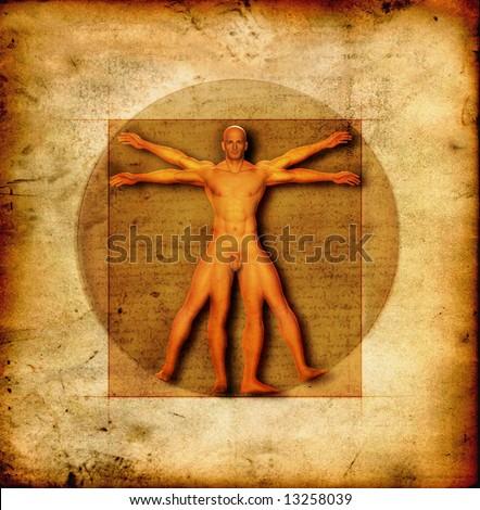 Stylized illustration of Laonardo Da vinci's Vitruvian Man - stock photo