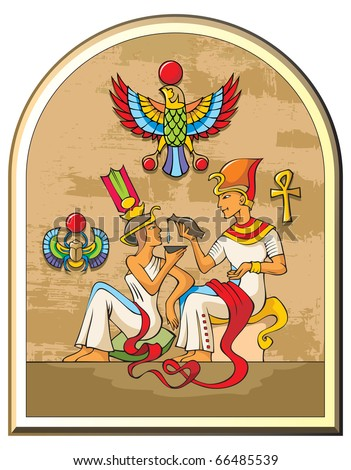 Stylized illustration of life in ancient Egypt, the pharaoh and the empress, papyrus background, symbols of falcon and scarab, raster from vector illustration