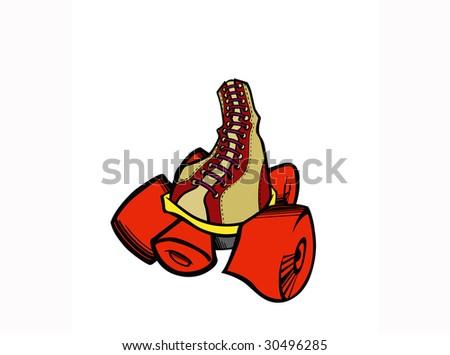 Stylized illustration of roller skate. - stock photo