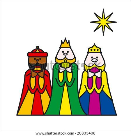 stylized illustration of three kings - stock photo