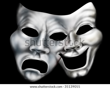 Stylized illustration of two theater masks merged into one - stock photo