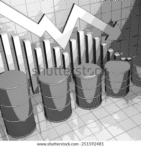 Stylized Illustration showing a stock market chart and four oil cans. - stock photo