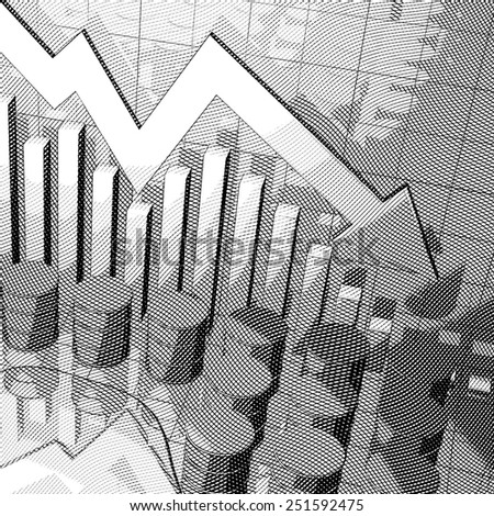 Stylized Illustration showing a stock market chart and oil cans. - stock photo