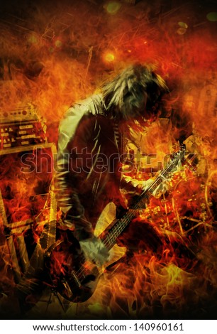 Stylized image of a Heavy Metal bass guitar player live on stage. - stock photo