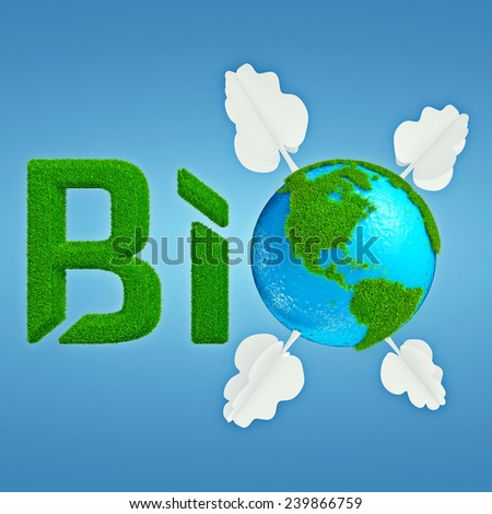 Stylized interpretation of the logo Bio Planet, with Earth thumbnail instead of letter O, which is decorated with cartoonish grass and trees - stock photo
