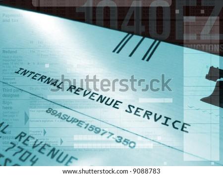stylized IRS tax montage - stock photo