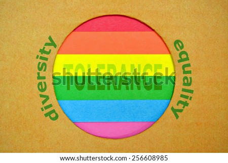 Stylized LGBT flag in a circular form with rainbow colors - stock photo