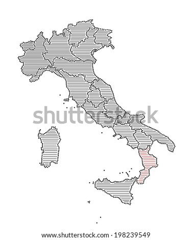 Stylized map of Italy with marked region Calabria