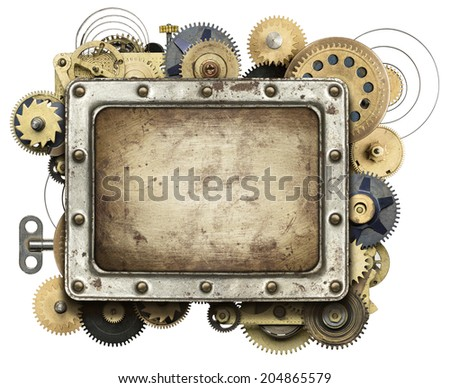 Stylized mechanical collage background - stock photo