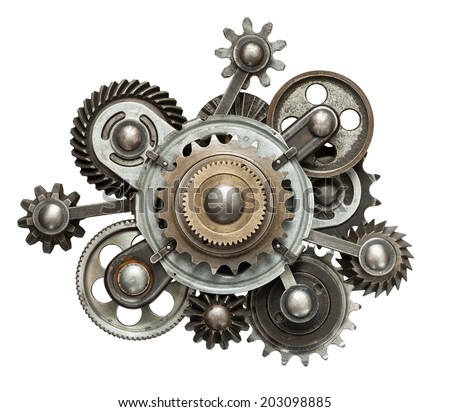 Stylized mechanical collage. Made of metal gears. - stock photo