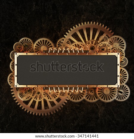 Stylized mechanical steampunk collage. Made of metal frame and clockwork details. - stock photo