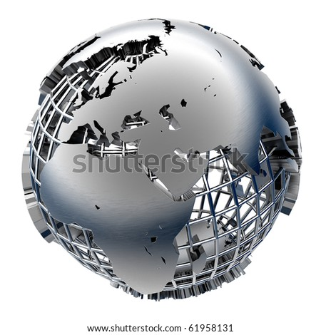 Stylized metal model of the Earth - stock photo
