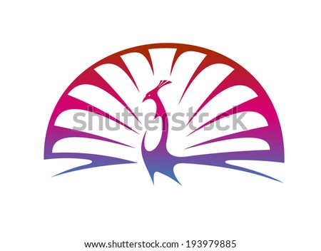 Stylized modern illustration of a proud peacock doing a mating display with spread tail feathers in shades of graduated purple. Vector version also available in gallery - stock photo