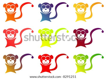 stylized monkey fruit jelly gum shapes - stock photo