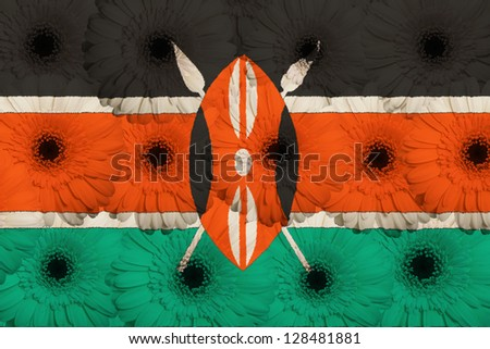 stylized national flag of kenya with gerbera daisy flowers as concept and symbol of love, beauty, innocence, and positive emotions - stock photo