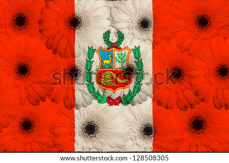 stylized national flag of peru with gerbera daisy flowers as concept and symbol of love, beauty, innocence, and positive emotions - stock photo