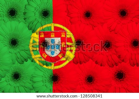 stylized national flag of portugal with gerbera daisy flowers as concept and symbol of love, beauty, innocence, and positive emotions - stock photo