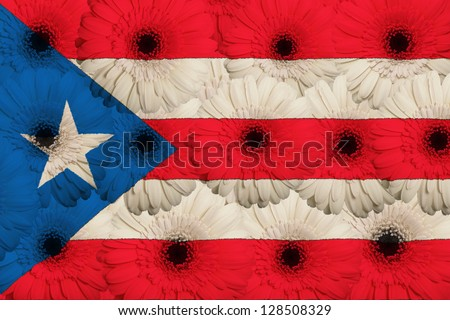 stylized national flag of puertorico with gerbera daisy flowers as concept and symbol of love, beauty, innocence, and positive emotions - stock photo