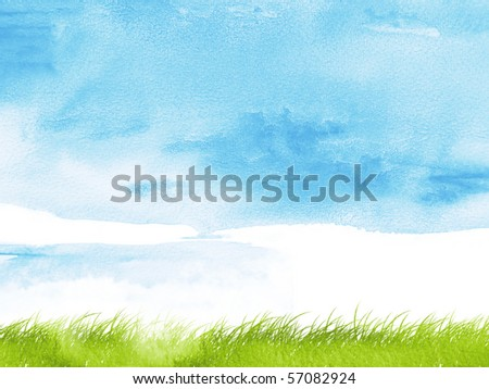 Stylized nature background using watercolour textures - stock photo